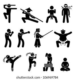Kung Fu Martial Arts Self Defense Chinese Wushu Ninja Boxer Kendo Sumo Muay Thai Icon Symbol Sign Pictogram