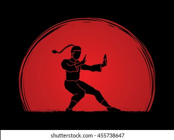 Kung fu pose, designed on sunset background graphic vector.