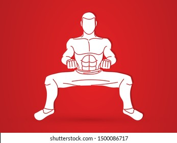 Kung Fu pose, Man action ready to fight graphic vector.
