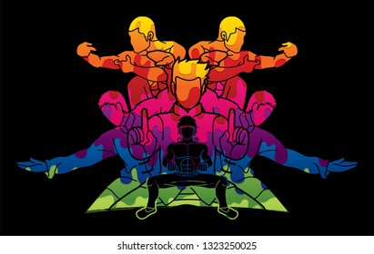 Kung Fu ready to fight action pose cartoon graphic vector.