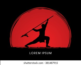 Kung Fu, Wushu with spear pose, designed on sunset background graphic vector.