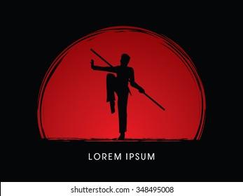 Kung Fu, Wushu with stick pose, designed on sunset or sunrise background graphic vector.