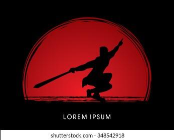 Kung Fu, Wushu with sword pose, shadow graphic vector.