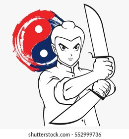 Kungfu, Wushu with sword, Wing Chun double butterfly sword, Kungfu asian man cartoon on white background vector illustration.