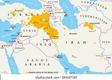 Kurdish areas in the Middle East, political map. Countries with their capitals, national borders and important cities. Kurdish areas in orange color. Illustration with English labeling. Vector.