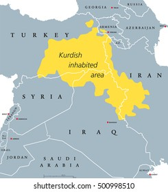 Kurdish inhabited area political map. Kurdish lands, also Kurdistan. English labeling.