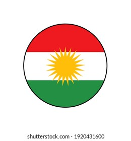 Kurdistan Flag Vector Button Icon from Northern Iraq of the independent region of  Kurds.