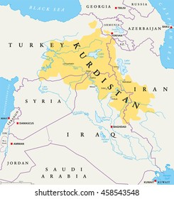 Kurdistan, Kurdish lands political map. Cultural region wherein Kurdish people form a prominent majority. Greater Kurdistan includes parts of Turkey, Syria, Iraq, Iran and Armenia. English labeling.