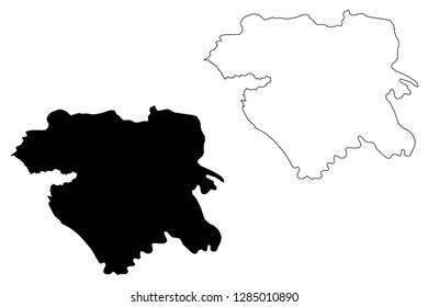 Kurdistan Province (Provinces of Iran, Islamic Republic of Iran, Persia) map vector illustration, scribble sketch Kurdistan map