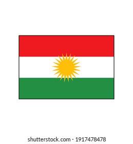 Kurdistan vector flag of Iraq's independent northern region of ethnic Kurds capital Erbil.