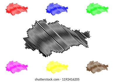 Kursk Oblast (Russia, Subjects of the Russian Federation, Oblasts of Russia) map vector illustration, scribble sketch Kursk Oblast map