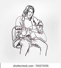 Kurt Donald Cobain rock star nirvana vector sketch style illustration