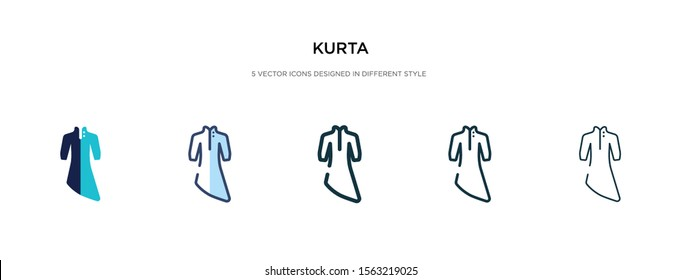 kurta icon in different style vector illustration. two colored and black kurta vector icons designed in filled, outline, line and stroke style can be used for web, mobile, ui
