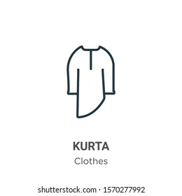 Kurta outline vector icon. Thin line black kurta icon, flat vector simple element illustration from editable  concept isolated on white background