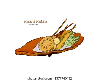 Kushi-katsu, deep fried skewered morsels. Kushi-katsu are made by skewering meat, fish, or vegetables that is first coated in batter and then deep fried. Hand draw sketch vector.