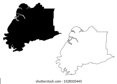 Kusilvak Census Area, Alaska (United States of America,USA, U.S., US) map vector illustration, scribble sketch Wade Hampton