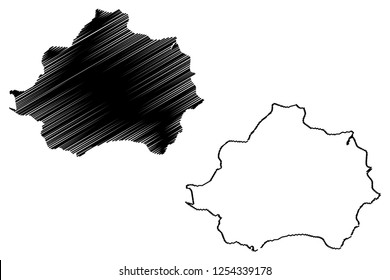 Kutahya (Provinces of the Republic of Turkey) map vector illustration, scribble sketch Kütahya ili map