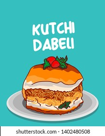 kutch dabeli or double roti traditional food of Gujarat india vector illustration
