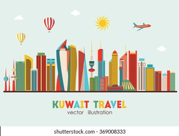 Kuwait City detailed skyline. Vector illustration