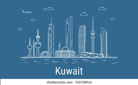 Kuwait city, Line Art Vector illustration with all famous buildings. Linear Banner with Showplace. Composition of Modern buildings, Cityscape. Kuwait buildings set