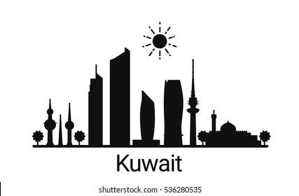 Kuwait city outline skyline. All Kuwait buildings - customizable objects, so you can simple change skyline composition. Minimal design.