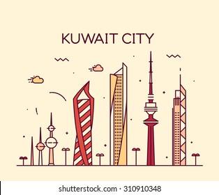 Kuwait city skyline, detailed silhouette. Trendy vector illustration, linear style.