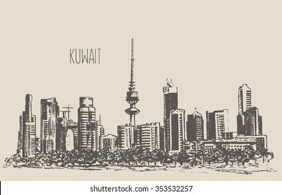 Kuwait City skyline detailed silhouette. Hand drawn, engraved vector illustration