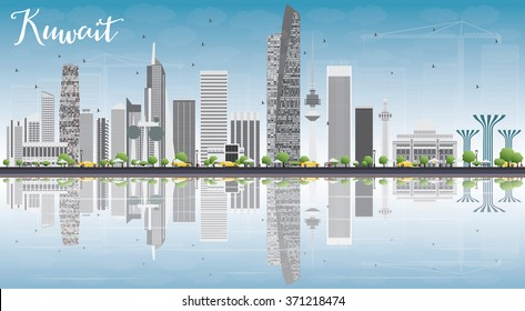 Kuwait City Skyline with Gray Buildings, Blue Sky and Reflections. Vector Illustration. Business Travel and Tourism Concept with Modern Buildings. Image for Presentation Banner Placard and Web.