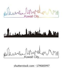 Kuwait City skyline linear style with rainbow in editable vector file