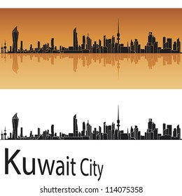 Kuwait city skyline in orange background in editable vector file