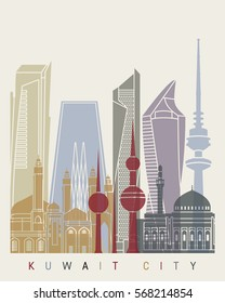Kuwait City skyline poster in editable vector file