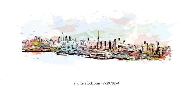 Kuwait City Skyline. Watercolor splash with sketch illustration in vector.