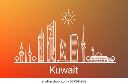 Kuwait city white line on colorful background. All Kuwait buildings - customizable objects with opacity mask, so you can simple change composition and background. Line art.