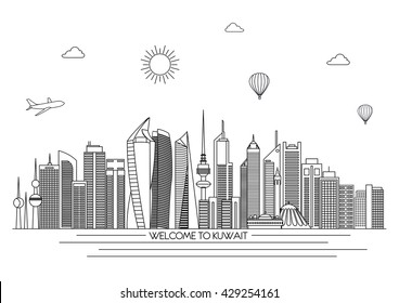 Kuwait detailed Skyline. Travel and tourism background. Vector background. line illustration. Line art style