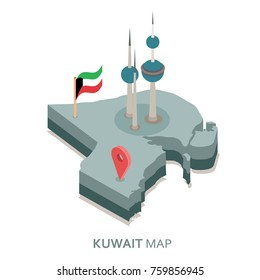 Kuwait flag icon and kuwait tower on 3D isometric map vector illustration
