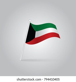 Kuwait Flag with Metal Pole. Vector illustration,vector waving simple triangle kuwaiti flag on slanted pole - icon of kuwait with metal stick.
