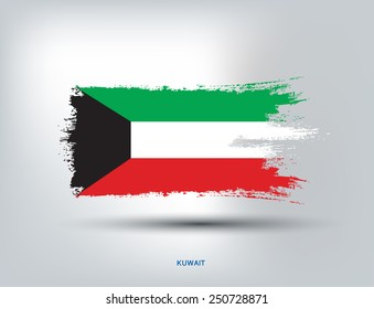 Kuwait Flag with Paint Brush, Vector