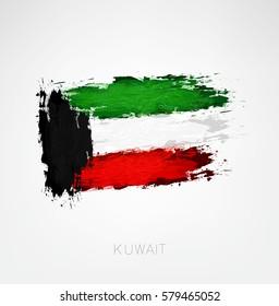Kuwait flag painted .