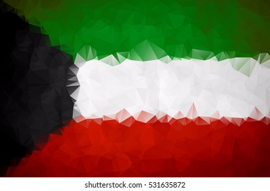 Kuwait flag triangular polygonal background