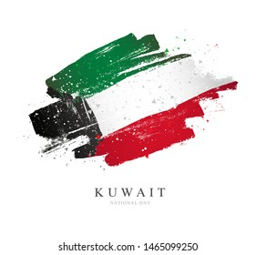 Kuwait flag. Vector illustration on white background. Brush strokes drawn by hand. National Day.