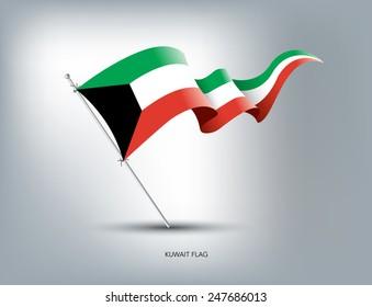 Kuwait flying flag in isolated background