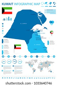 Kuwait infographic map and flag - High Detailed Vector Illustration
