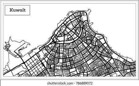 Kuwait Map in Black and White Color. Vector Illustration. Outline Map.