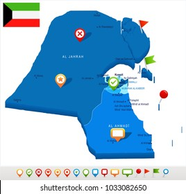 Kuwait map and flag - High Detailed Vector Illustration