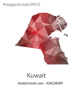 Kuwait map in geometric polygonal style.Abstract gems triangle,modern design background. Vector illustration EPS10