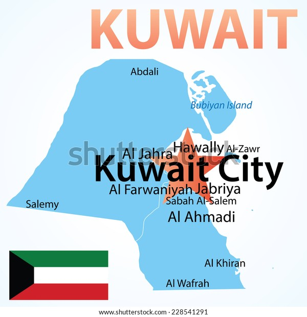 Kuwait Map Largest Cities Carefully Scaled Stock Vector