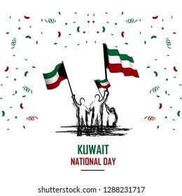 kuwait national day with white background, or independence day - vector