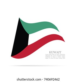 Kuwait national flag waving vector icon