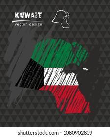 Kuwait national vector map with sketch chalk flag. Sketch chalk hand drawn illustration