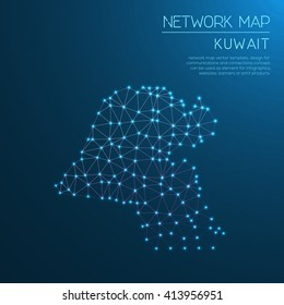 Kuwait network map. Abstract polygonal map design. Internet connections vector illustration.